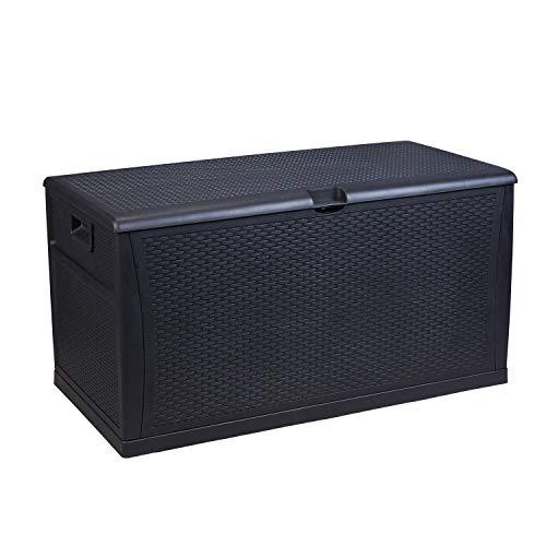 Leisurelife Plastic Deck Box Wicker 120 Gallon Black