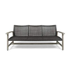 Great Deal Furniture Marcia Outdoor Wood and Wicker Sofa, Light Gray Finish with Mix Black Wicker