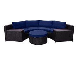 Jeco W00502-FS011 Cartagena 5 Piece Curved Modular Set with Blue Cushions, Espresso