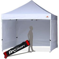 ABCCANOPY Upgrade Pop up Canopy Tent Commercial Instant Shelter with Wheeled Roller Bag (White C ...