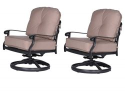 iPatio Athens Club Swivel Chairs with Cushion – Quality Outdoor Patio Furniture (Set of 2)