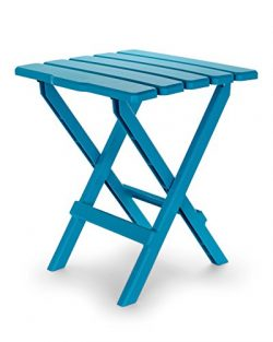 Camco 51690 Aqua Large Adirondack Portable Outdoor Folding Side Table, Perfect for The Beach, Ca ...