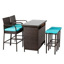 Kinbor Patio Outdoor Wicker Barstool Set Pool Furniture Patio High Chair (Brown-5 Piece Patio Ba ...