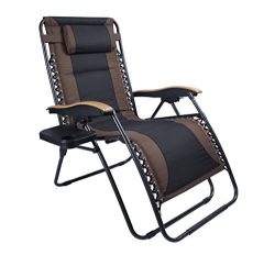 LUCKYBERRY Deluxe Oversized Padded Zero Gravity Chair XL Black Brown Cup Holder Lounge Patio Cha ...