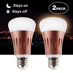 Juhefa LED Dusk to Dawn Light Bulb,7W Smart Sensor Light Bulb with Dusk Till Dawn Auto On/Off, O ...