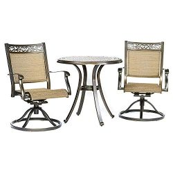 dali 3 Piece Bistro Set, Cast Aluminum Dining Table Swivel Rocker Chairs Outdoor Patio Furniture