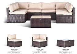 Gotland 7pcs Outdoor Rattan Sectional Sofa Patio Wicker Furniture Set(Fade Brown),with Weather R ...