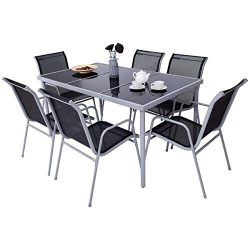Giantex 7 Pcs Patio Dining Set with Metal Frame for Outdoor Lawn Garden Tempered Glasstop Cool T ...