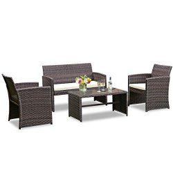 Goplus 4-Piece Rattan Patio Furniture Set Garden Lawn Pool Backyard Outdoor Sofa Wicker Conversa ...