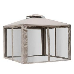 Outsunny 10' x 10' Steel Fabric 2.95m /9.7′ Outdoor Patio Gazebo Pavilion Canopy Tent Stee ...
