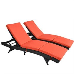Patio Lounge Chair Garden Black Rattan Chaise Lounge Outdoor Wicker Deck Chair Adjustable Cushio ...