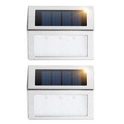 Solar Deck Lights, KASUN Super Bright LED Walkway Light Stainless Steel Waterproof Outdoor Secur ...