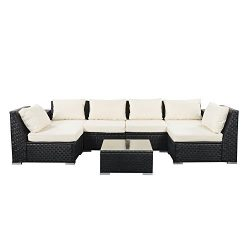 Outdoor Wicker Patio Furniture Sectional Cushioned Rattan Conversation Sofa Sets 7 Pieces