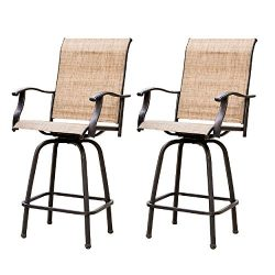 LOKATSE HOME 2 Piece Swivel Bar Stools Outdoor High Patio Chairs Furniture with All Weather Meta ...