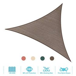 PHI VILLA Sun Shade Sail Triangle 16.5'x16.5'x16.5′ Coffee Patio Canopy Cover  ...