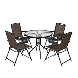 Goplus 5 Piece Bistro Set Outdoor Patio Furniture Sets Weather Resistant Garden Round Table and  ...