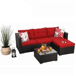 PHI VILLA Patio Furniture Rattan Outdoor Sectional Sofa- Patio Wicker Furniture Set (3-Piece)