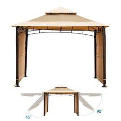 Sunnyglade 10.8′ x 10.8′ Gazebo Canopy Soft Top Outdoor Patio Gazebo Tent with 2 Rem ...