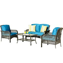 ovios 4 PCs Patio Furniture Sets All Weather Water-Resistant and UV Resistant Rattan Wicker Deep ...