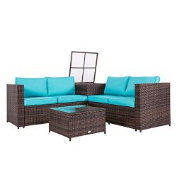 Peach Tree 4PCS Outdoor Rattan Wicker Patio Sofas Blue Cushion Seat Set Furniture Lawn Storage Table