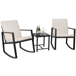 Flamaker 3 Pieces Patio Furniture Set Rocking Wicker Bistro Sets Modern Outdoor Rocking Chair Fu ...