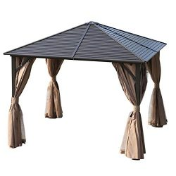 Outsunny 10 x 10 Steel Backyard Garden Hardtop Gazebo with Mosquito Netting and Curtains- Brown/ ...