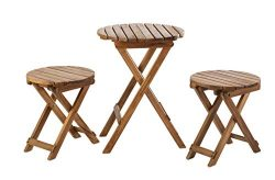 Sunset Garden SG85 | Oria Outdoor Bistro 3-Piece Real Wood Patio Set, Natural