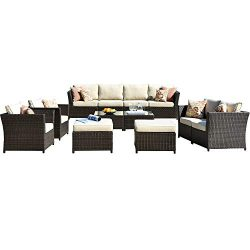 ovios Patio Furniture Set, Backyard Sofa Outdoor Furniture 12 Pcs Sets,PE Rattan Wicker sectiona ...