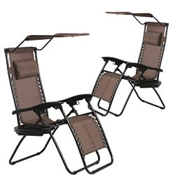 BestMassage Patio Chairs Lounge Chair Zero Gravity Chair 2 Pack Recliner W/Folding Canopy Shade  ...