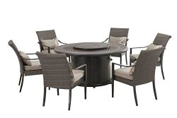 Sunjoy Simone Dining Set Made of Aluminum and Wicker With Included LP Firepit, 60 Inches by 60 I ...