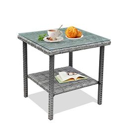 LEAPTIME Patio Side Table Coffee Table Tea Table Mixed Gray Rattan Outdoor Indoor Square Table B ...