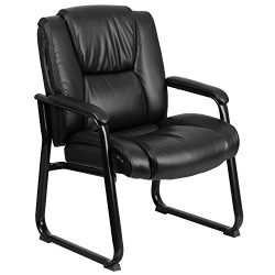 Flash Furniture HERCULES Series Big & Tall 500 lb. Rated Black Leather Executive Side Recept ...