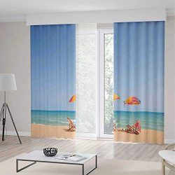ALUONI Window Curtains,Seaside Decor,Living Room Bedroom Curtain,Beach Chair Umbrella on Beach L ...