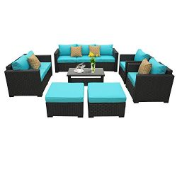 Rattaner Outdoor PE Wicker Furniture Set -7 Pcs Patio Garden Conversation Cushioned Seat Couch S ...