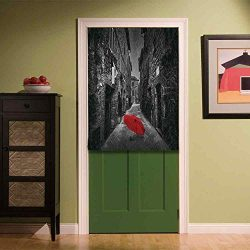 YOLIYANA Black and White Custom Door Curtain,Red Umbrella on a Dark Narrow Street in Tuscany Ita ...