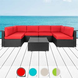 Walsunny 7pcs Patio Outdoor Furniture Sets,All-Weather Rattan Sectional Sofa with Tea Table& ...
