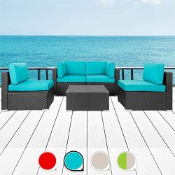 Walsunny 5pcs Patio Outdoor Furniture Sets,All-Weather Rattan Sectional Sofa with Tea Table& ...
