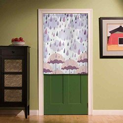 YOLIYANA Farmhouse Decor Privacy Door Curtain,Double Exposure Umbrella Parasol Motifs on Nostalg ...