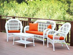 Jeco W00209-G-FS016 4 Piece Santa Maria Wicker Conversation Set with Brick Orange Cushions White