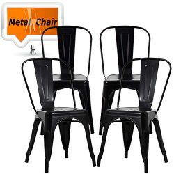 Chairs Metal Stackable Kitchen Dining Chair 18″ Seat Height Indoor/Outdoor Metal Side Bar  ...