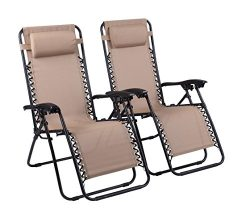 Naomi Home Zero Gravity Lounge Patio Outdoor Recliner Chairs Cream/Set of 2