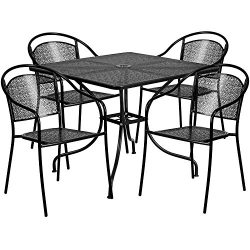 """Flash Furniture 35.5"""" Square Black Indoor-Outdoor Steel Patio Table Set with 4 Round Back  ..."""