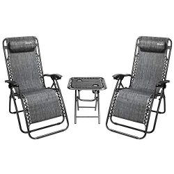 Bonnlo 3 PCS Zero Gravity Chair Patio Chaise Lounge Chairs Outdoor Yard Pool Recliner Folding Lo ...