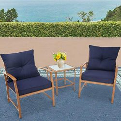 Solaura Patio Outdoor Furniture 3 Piece Bistro Set Conversation Sofa Light Brown Coated Metal Fr ...