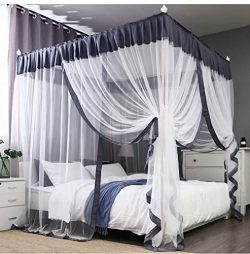 Princess 4 Corners Post Bed Canopy Bed Curtains Mosquito Netting (Queen, Gray and White)