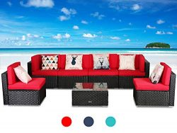 LUCKWIND Patio Conversation Sectional Sofa Chair – (7-Piece Set) All-Weather Black Checker ...