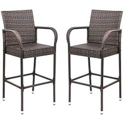 Homall Pation Bar Stool Wicker Bar StoolS Indoor Outdoor Use Outdoor Bar Stools with Footrest an ...
