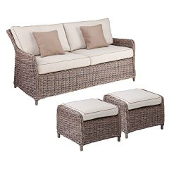 Southern Enterprises Avadi Outdoor 2.5 Seater Sofa & Ottoman 3pc Set