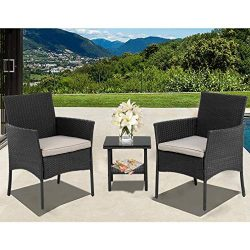 FDW Patio Furniture Sets 3 Pieces Outdoor Bistro Set Rattan Chairs Wicker Conversation Sets with ...