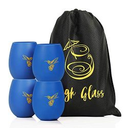 Unbreakable stemless silicone wine glasses -with bag; Cool camping gifts, patio accessories, car ...